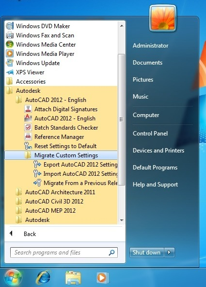 AutoCAD Migrate Custom Settings