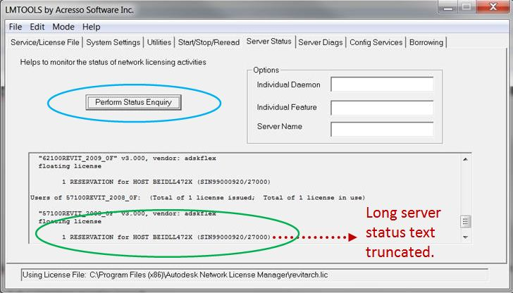 FLEXnet Licensing Manager (LMTools) : Truncated Server
