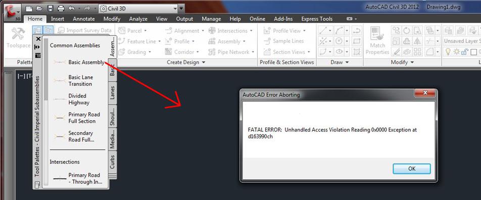 fatal error unhandled access violation writing autocad 2007