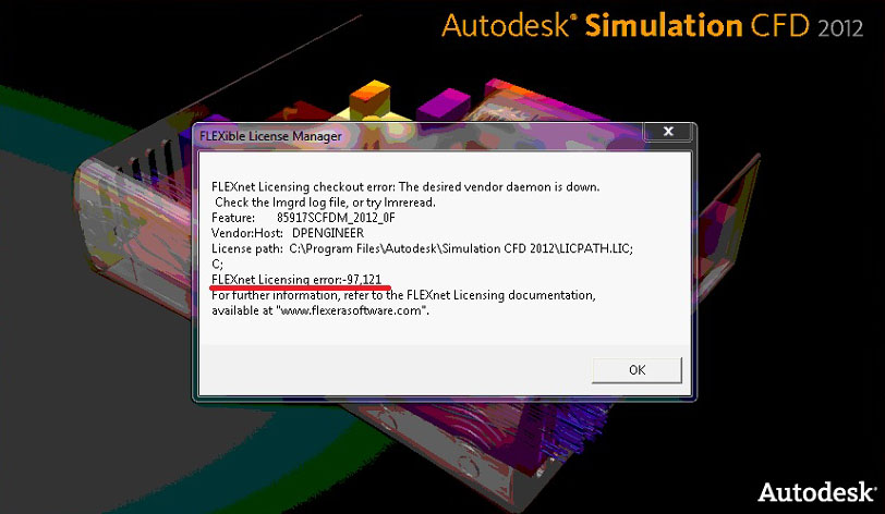 Autodesk Simulation CFD 2012: The Interface license cannot