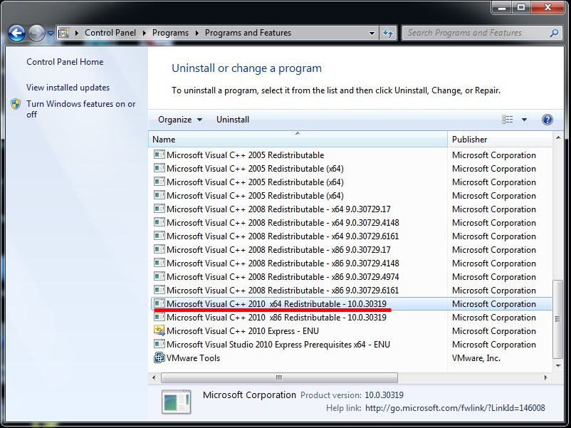 Installation: The case of Microsoft Visual C++ 2010 and the