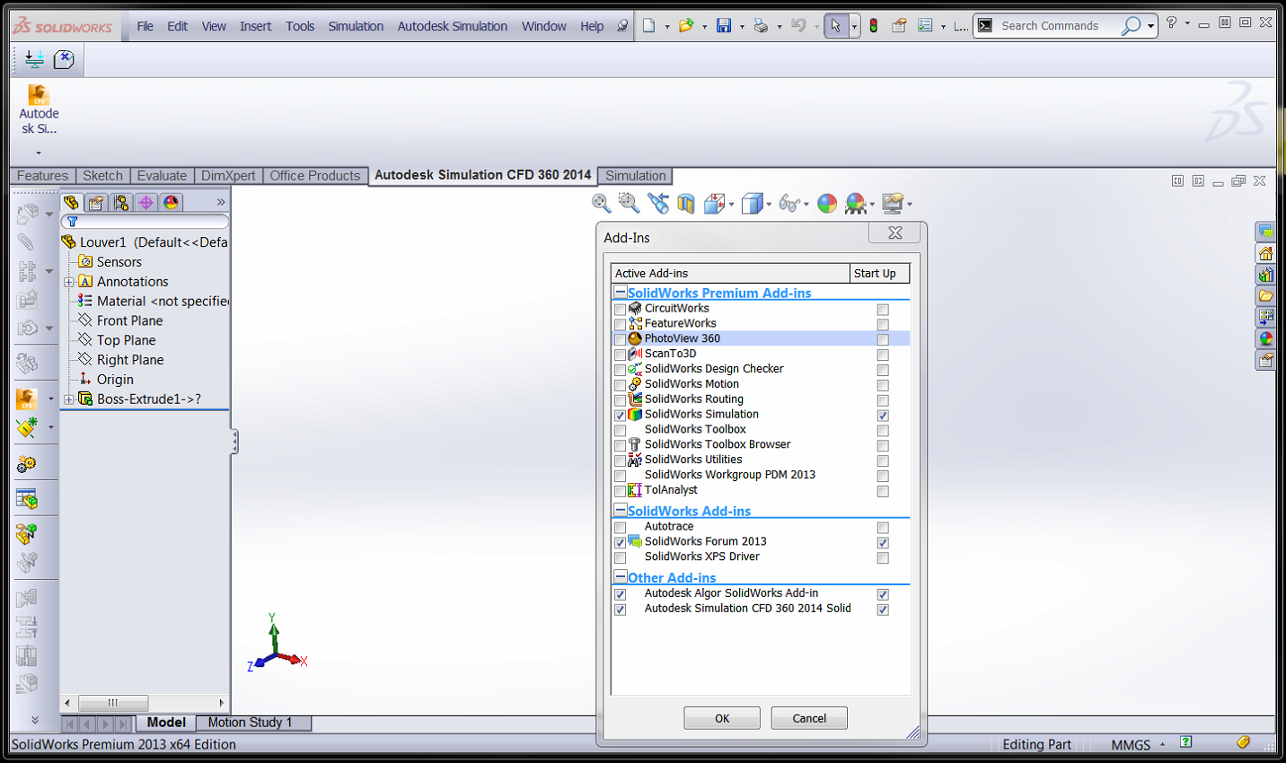 Solidworks + Simulation CFD + SimCFDConfig - Up and Ready