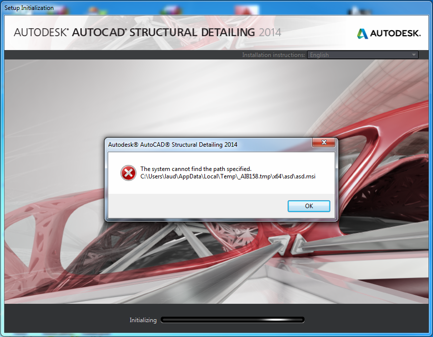 AutoCAD Structural Detailing 2014: The system cannot open